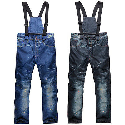 Winter Men Denim Waterproof Ski Pants Outdoor Sports Snowboard Windproof Pants N