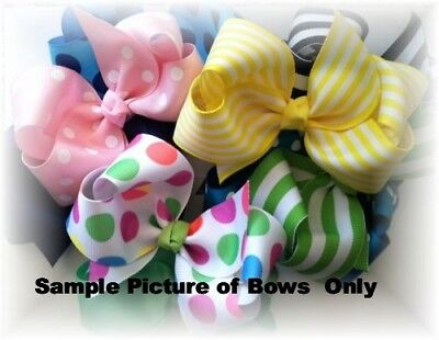 5 Inch Custom Boutique Hair bow You Choose Color and Clip