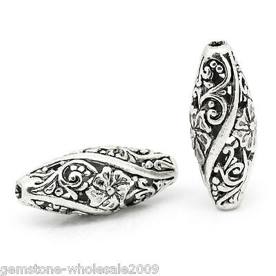 Wholesale Lots W09 Metal Spacer Beads Hollow Flower Pattern Carved Oval