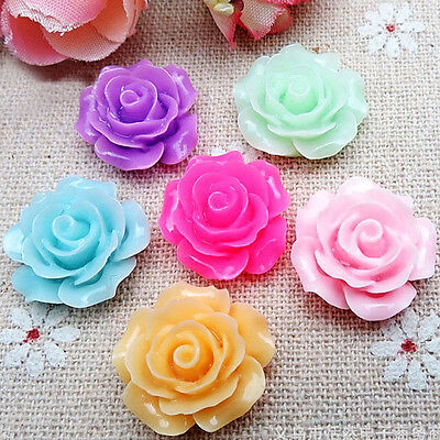 Cabochons Resin Flatback Flowers 50 Mixed Juliet Roses Retro Style 9mm x 6mm
