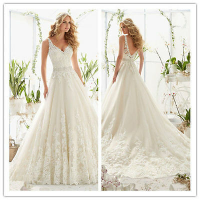 New White/Ivory lace Bridal Gown Wedding Dress Size 6 8 10 12 14 16 +++