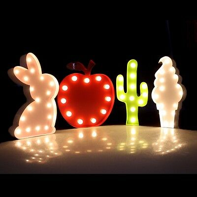 Multiple Shape Vintage Marquee Light  Bunny Apple Cactus Ice Cream Table Wall