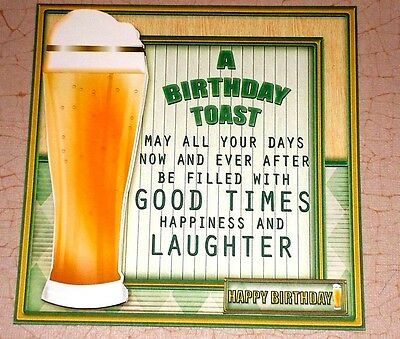 Handmade Greeting Card 3D Birthday With Beer And A Toast