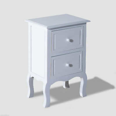 HOMCOM Night Stand Bedside Cabinet Bed Side Table 2 Drawer Wood Furniture White