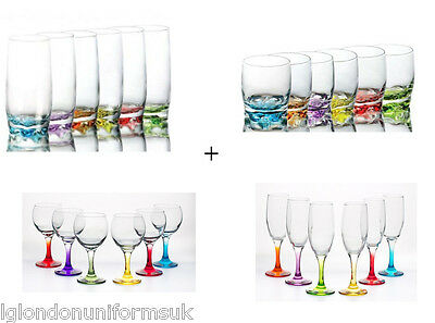 Colored drinking glasses SET 24 PCS!!!! wine highball tumblers cocktail PARTY