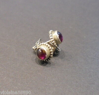 Boucle Oreille Argent Pierre Naturell Grenat Natural Garnet Stone Earring Silver