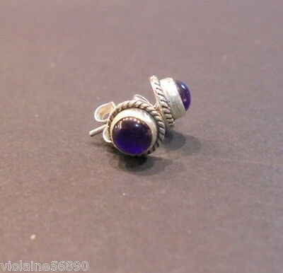 Boucle Oreille Argent Pierre Naturell Amethyste Natural Stone Earring Silver 925