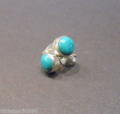Boucle Oreille Argent Pierre Naturell Turquoise Natural Stone Earring Silver 925