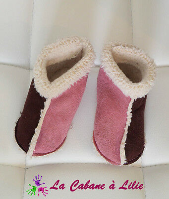 ♥ Chaussures Chaussons Fille Rose Beige Marron Pointure 19 ♥ N137