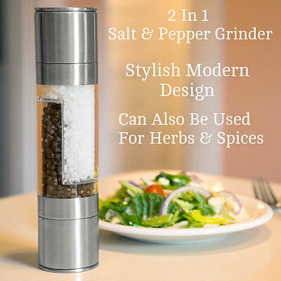 Dual Large Stainless Steel Salt And Pepper Grinder Set Mill Metal 22cm Chrome