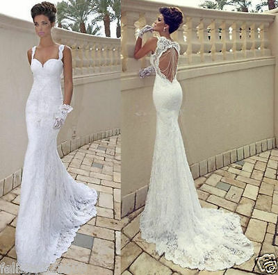 Sexy Mermaid lace Backless wedding dress Bridal Gown Size 4 6 8 10 12 14 16 18+