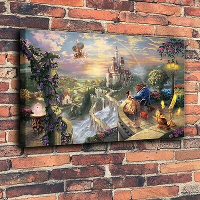 Beauty and the Beast Art Print Oil Painting on Canvas Home Decor (Unframed)