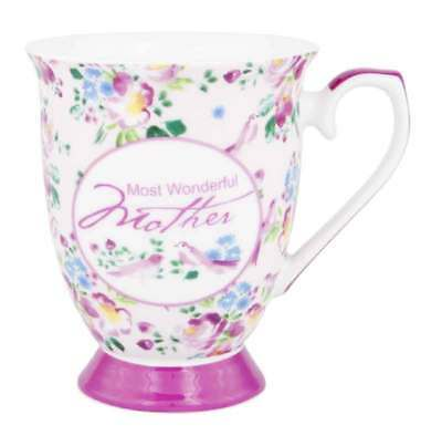 NEW Mums The Word Pretty Pink Mother Design Fine Bone China Tea Coffee Mug Cup