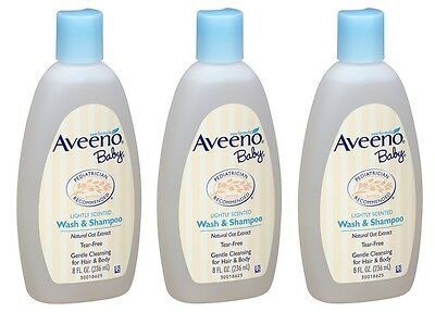 3 Pack Aveeno Baby Wash and Shampoo Lightly Scented Wash and Shampoo 8oz Each