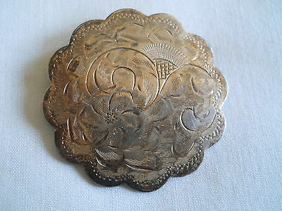 "Vintage Sterling Brooch 1.5"" Flowers Floral"