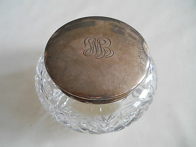 Birks Sterling Glass Vanity Dresser Powder Jar