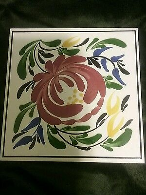 Vintage tile ceramic trivet hot plate England flowers kitchen counter