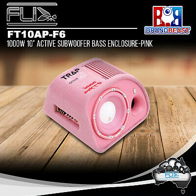 """Pink Fli Trap Ft10pa-f6 10"""" Inch Active Amplifier Built In Amp Subwoofer Sub Fly"""