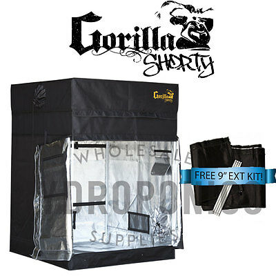 "Gorilla Grow Tent SHORTY 4' x 4' x 4' 11"" GGT w/ FREE 9"" Height Extension"