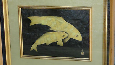 "Kaji Takeshi""Pair Of Koi""A Piece Of Wajima Lacquerware W/2 Koi Fish In Gold Leaf"