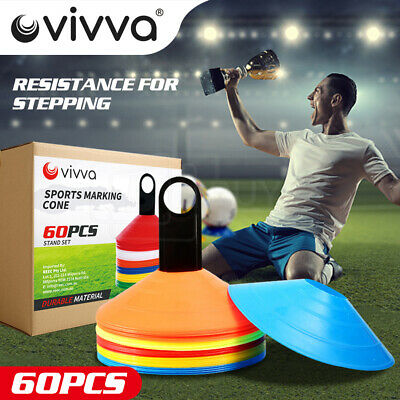 60 Pack Sports Training Discs Markers Cones Soccer Afl Exercise Rugby Fitness