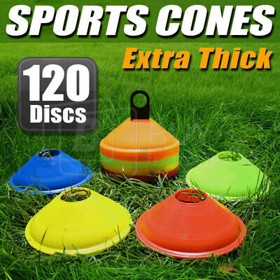 120 Pack Sports Training Discs Markers Cones Soccer Afl Exercise Rugby Fitness