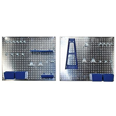 Siegen 34Pc Metal Wall Storage Tool Pegboard Holder With Hooks & Boxes - S01102