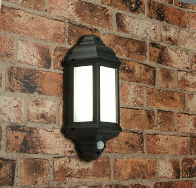 Saxby 54553 Halbury Black Outdoor Garden Security PIR Sensor IP44 LED Wall Light