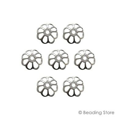 2 x 925 Sterling Silver 9mm Bead Cap Caps 1.3mm Hole Size Beading Findings