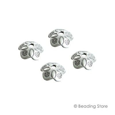 2 x 97-99% Pure Silver 8.5mm Flower Bead Caps Cap 1.5mm Hole Size Hand Crafted