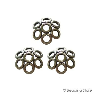 Various Sterling Silver Oxidized Bead Caps 8mm Flower Cap Findings 1.75mm Hole