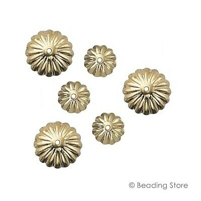 2 or 20 14ct Yellow Gold Filled Bead Caps 9mm Fluted Flower 1mm Hole Findings
