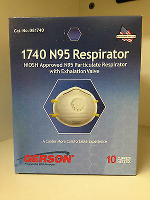 (10) Gerson #1740 N95 Cup-Style Particulate Respirator Mask with Valve FILTER