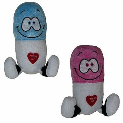 Giggling Happy Pills Plush Toys - Animated Laughing Medicine Set of 2