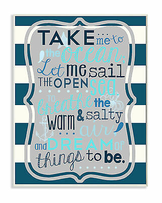 Stupell Industries The Kids Room Boy's Take Me to the Ocean Wall Plaque