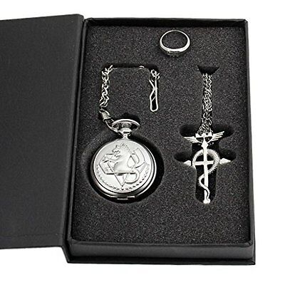 Metal Alchemist Edward Elric Pocket Watch Necklace and Ring