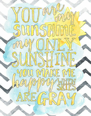 The Kids Room You Are My Sunshine Watercolors Chevron Wall Plaque