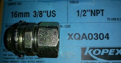 "5 Nos. KOPEX Flexible Conduit Glands 16mm Conduit Size x 1/2"" Thread"