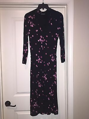 Bebe black dress with pink polka dots collar and tie belt size 6