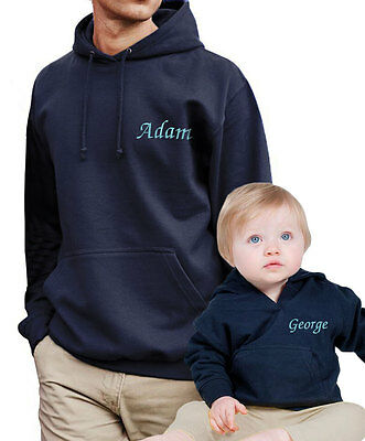 Personalised Adult & Baby Hoodies Father & Son Mum & Daughter Matching Gift Set
