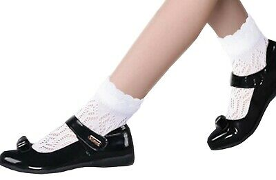 5 Pairs school girls flat seam white cotton socks with lace Pointelle Pelerine
