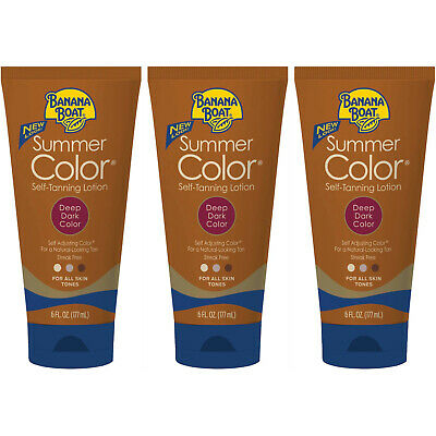 3 Pack Banana Boat Summer Color Self-Tanning Lotion, Deep Dark Color 6oz Each