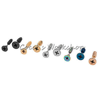 Stainless Steel Screwback Screw Bolt Goth Punk Mens Unisex Stud Earring
