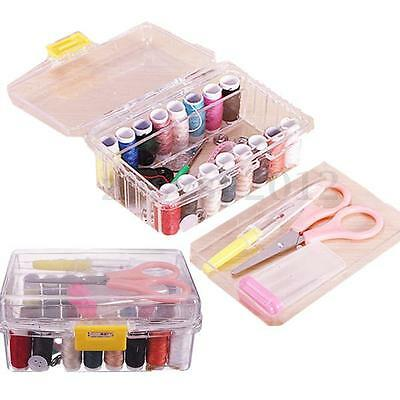 40Pcs Sewing Kit Thread Threader Needle Tape Measure Scissor Thimble Storage Box