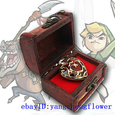 The Legend of Zelda 3D Necklace Heart Container Keychain Pendant +woodBox