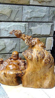 ANTIQUE 19c CHINESE BURL ROOT CARVING WITH GOD OF WELTH,WHOLE CARVED