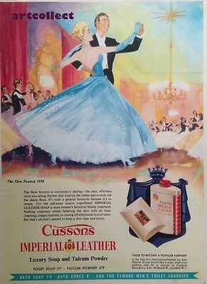 Original Vintage English Ad:Cussons Imperial Leather Soap & Talcum Powder (1958)