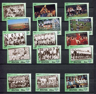 s6188) BHUTAN 1991 MNH** WC Football'90 - CM Calcio 15v + S/S x6 (2 SCANS)