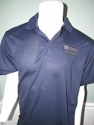 Thin Blue Line US Flag Police Policemen Volunteer Embroidered Polo Shirt