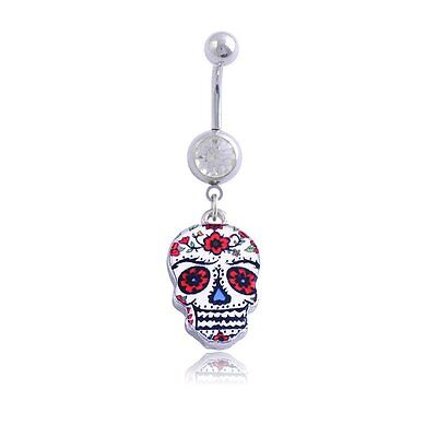 Sugar Skull Face Navel Belly Button Ring Barbell Dangle Piercing Jewelry